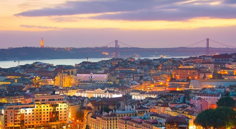 Panoramic view of beautiful Lisbon at twilight. Portugal
