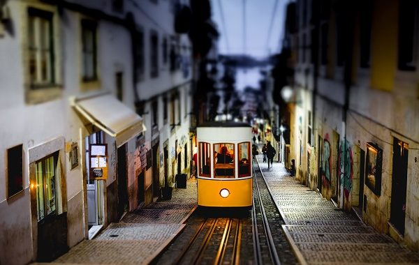 The Bica Funicular, Ascensor da Bica, Traditional yellow tram in Lisbon, Portugal