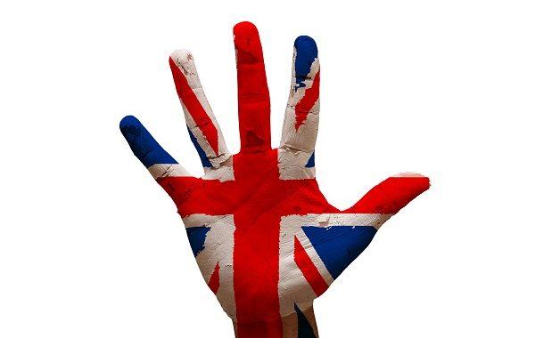 man hand palm painted flag of united kingdom